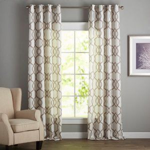 2 Plant City Beige Grommet Curtain Panels Set NEW